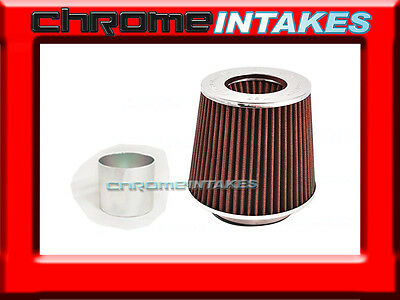 """RED UNIVERSAL 2.5"""" 63.5mm DRY AIR FILTER FOR VOLKS/BMW AIR INTAKE+PIPE"""