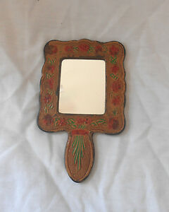 Vintage Souvenir Floral Pattern Leather Make-up Mirror from Granada