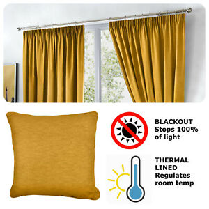Fusion-DIJON-Ochre-Yellow-Blackout-Pencil-Pleat-Curtains-Tiebacks-amp-Cushions