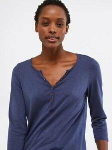 White-Stuff-Notch-Neck-Navy-Blue-Jersey-Cotton-T-Shirt-Blouse-Top-Tee-8-10-12-14