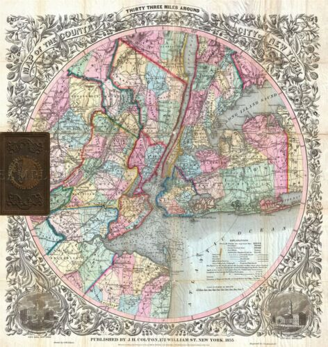 MAP ANTIQUE 1855 COLTON NEW YORK CITY VICINITY LARGE REPRO POSTER PRINT PAM1743
