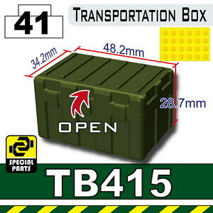 Tank Green TB415 (W240) Army Transportation Box compatible w/toy brick minifig