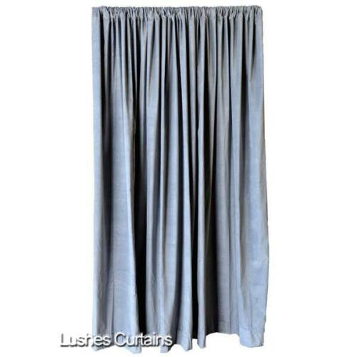 Gray 72 inch Velvet Curtain Long Panel Velveteen Custom Home Theater Decor Drape
