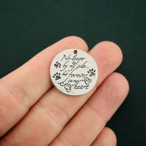 2 Pet Memorial Charms Antique Silver Tone No longer by my side .. SC7117