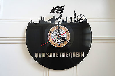 God Save the Queen Vinyl Record Wall Clock bedroom playroom office shop home art