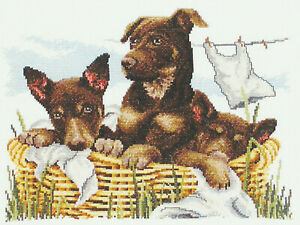 Wash-day Kelpies Cross Stitch Kit by Country Threads 26 X 34cm 14ct Aida
