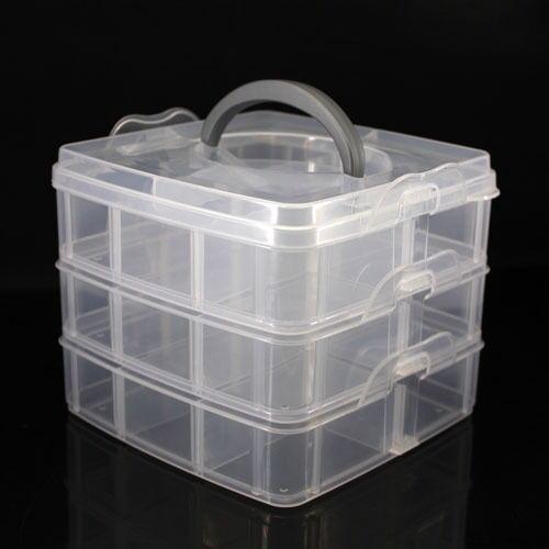 Plastic 3 Layer 18 compartments Adjustable Box Storage Case Holder Organizer