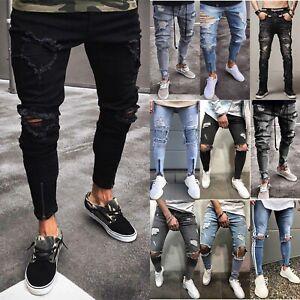USA-Men-Ripped-Biker-Skinny-Fit-Jeans-Frayed-Pants-Destroyed-Slim-Denim-Trousers