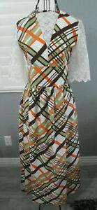 70-039-s-Vintage-White-Brown-Orange-Green-Plaid-Lace-Hippy-Mod-Maxi-Dress-Sundress-S