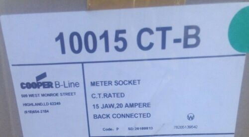 Cooper B-Line 10015CTB Meter Socket 15 Jaw Current Transformer 20A 3PH Only