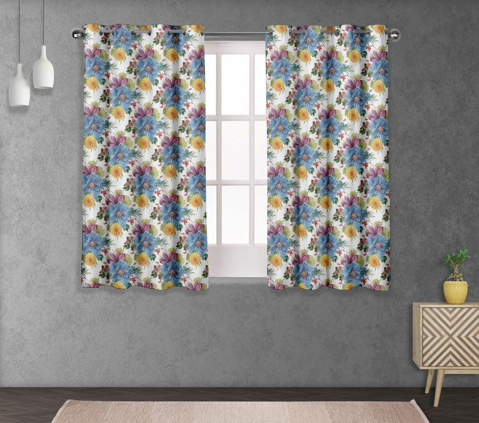 S4sassy Peony & chrysanthemum Double Panel Window Treatment Curtain -FL-831J