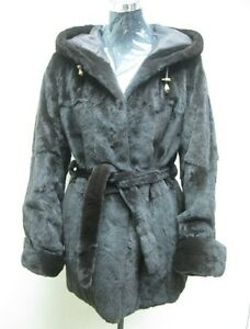 Us Fur Hoodie Halfcoat Silk Lady amp; Free Shipg Reversible Brown Mink Dark Plucked Un6txvwaqO