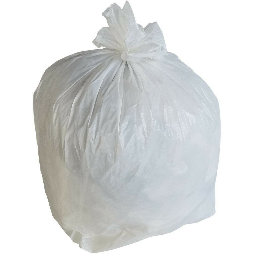 PlasticMill 12-16 Gallon, White, 1 MIL, 24x31, 250 Bags Case, Garbage Bags.