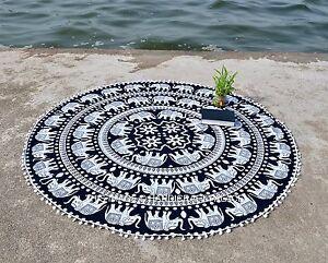l phant rond mandala yoga tapisserie boho tapis de plage arrondi indian ebay. Black Bedroom Furniture Sets. Home Design Ideas