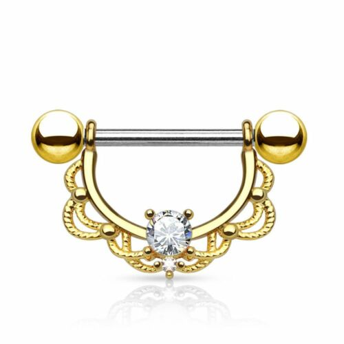 Piercing nipple filigree gold plated
