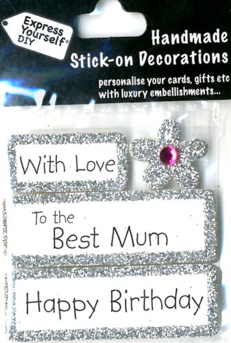 Happy Birthday With Love Best Mum DIY Greeting Card Toppers