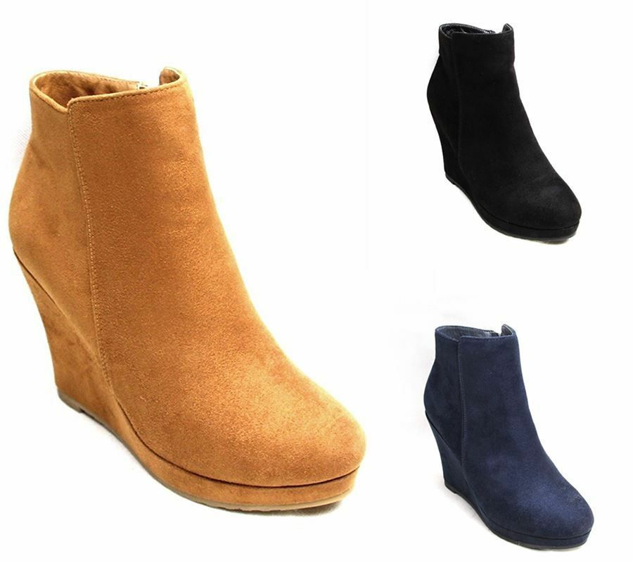 Suede Block Wedge Ankle Heel Heel Ankle Zip Womens Ladies Faux Boots Sizes 0eb50b
