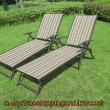 Patio Chaise Lounge Set of 2 Adjustable Back Deck Brown Relax Chair Multi Stripe