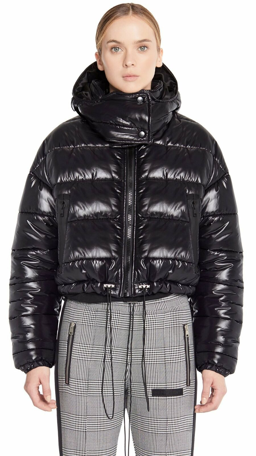 REPRESENT Women's Cropped Bubble Jacket - Shinny Black