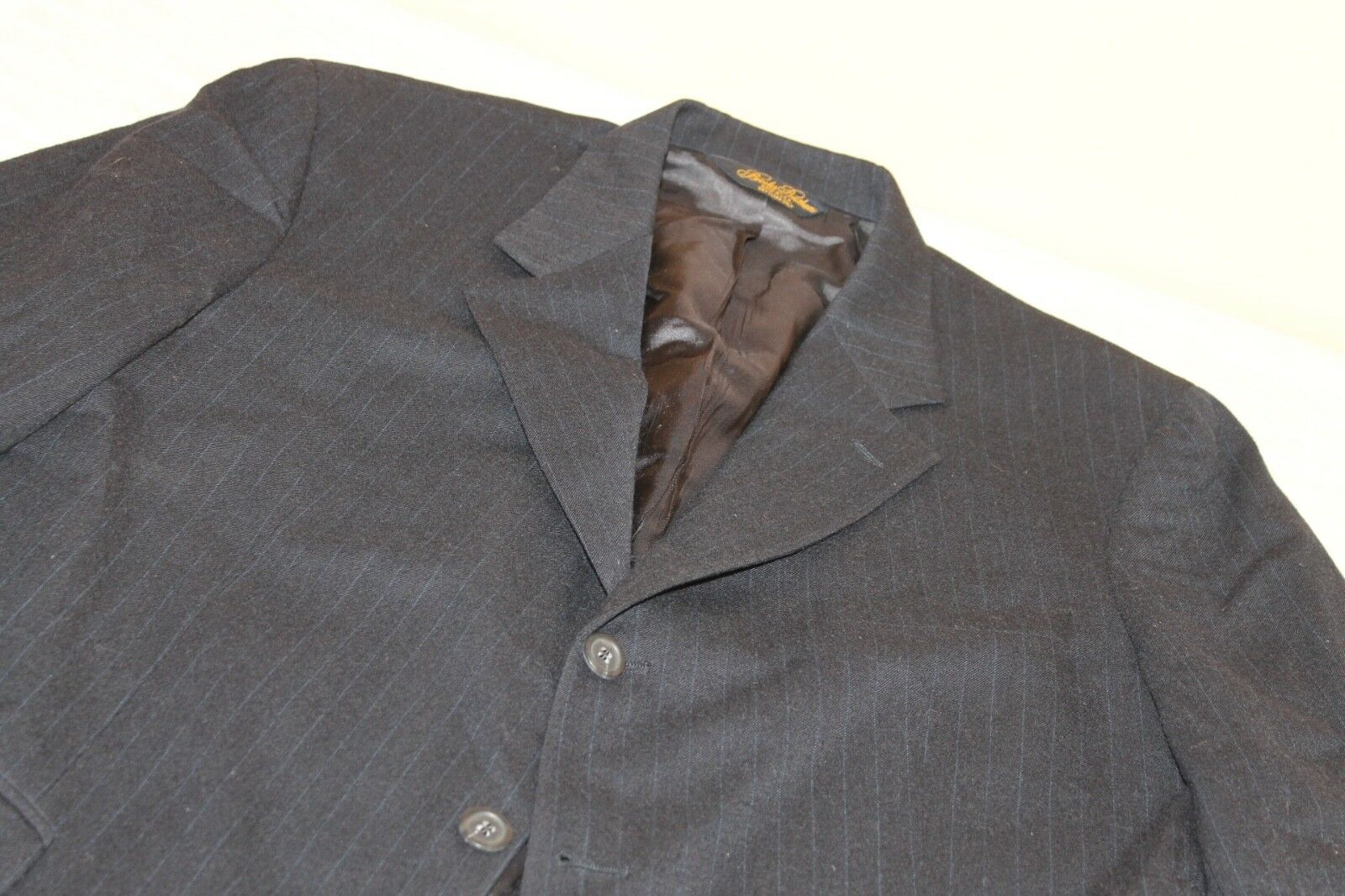 BROOKS BROTHERS Navy Striped Suit 42 R 100% Wool