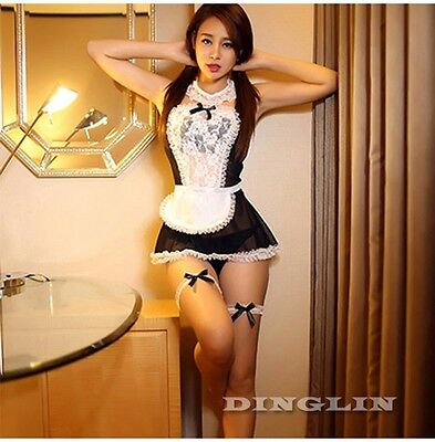 Sexy Lingerie French Maid Halloween Costumes Cosplay Fancy Dress Uniform Outfit