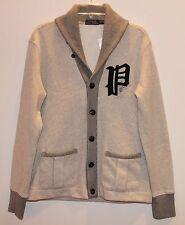 Polo Ralph Lauren Mens Gray Letterman Cardigan Shawl Collar Sweater NWT $165 M
