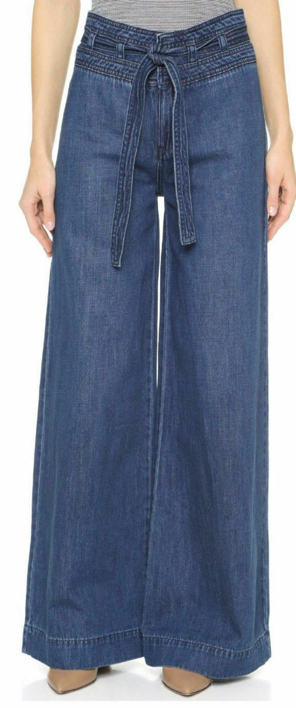 ANTHROPOLOGIE FREE PEOPLE AUGUSTA BELTED EXTREME WIDE MAYTAL JEANS SIZE 29  128