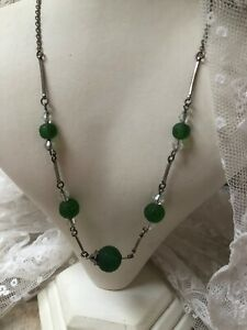1930s-Vintage-Glass-Necklace-Green-Bead-And-Link-Metal-Retro-Jewelry-Jewellery