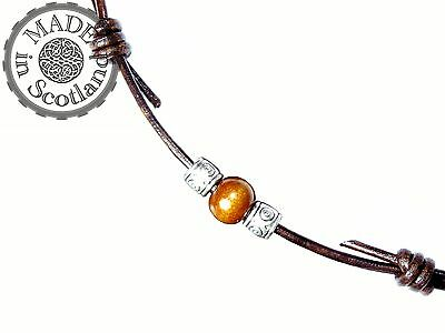 BROWN LEATHER SURFER BEADED ADJUSTABLE DOUBLE CHOKER NECKLACE & TIBETAN SILVER