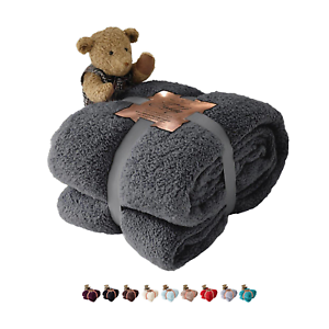 Afghans & Throw Blankets Teddy Bear Luxurious Throws Super Soft Warm Cosy Sofa And Bed Fleece Blankets Gc