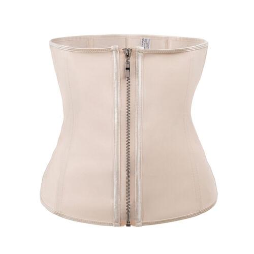 Women/'s Latex Zipper Body Shaper Waist Trainer Cincher Sport Tummy Belt Girdle