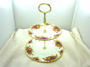 1st-Quality-Royal-Albert-Old-Country-Roses-Two-Tier-Cake-Plate