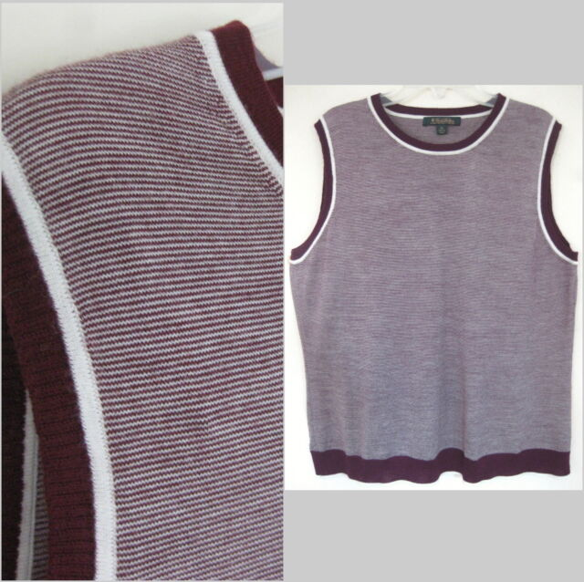 Brooks Brothers Sleeveless sweater XL Light wool Striped Maroon brown Shell Vest