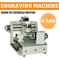 4 Axis 300w Cnc Router 3020 Engraver Engraving Drilling Milling Machine Carving