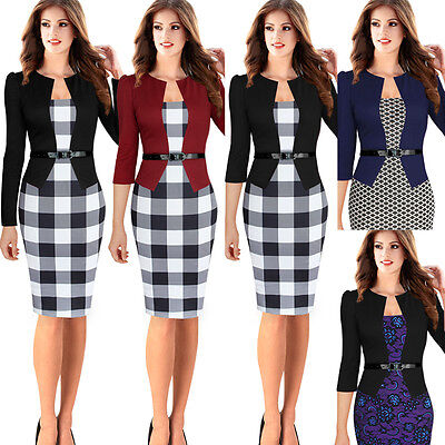 Womens Elegant Tartan Tunic Wear to Work Party Cocktail Bodycon Pencil Dress 068