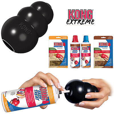 KONG Extreme Black Tough Dog Toy Teething Chew Snack Easy Treat Dispenser Paste   eBay
