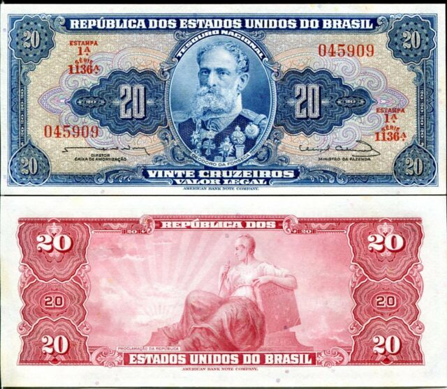 BRAZIL 20 CRUZEIROS 1961-63 P 168 UNC W/LITTLE TONE