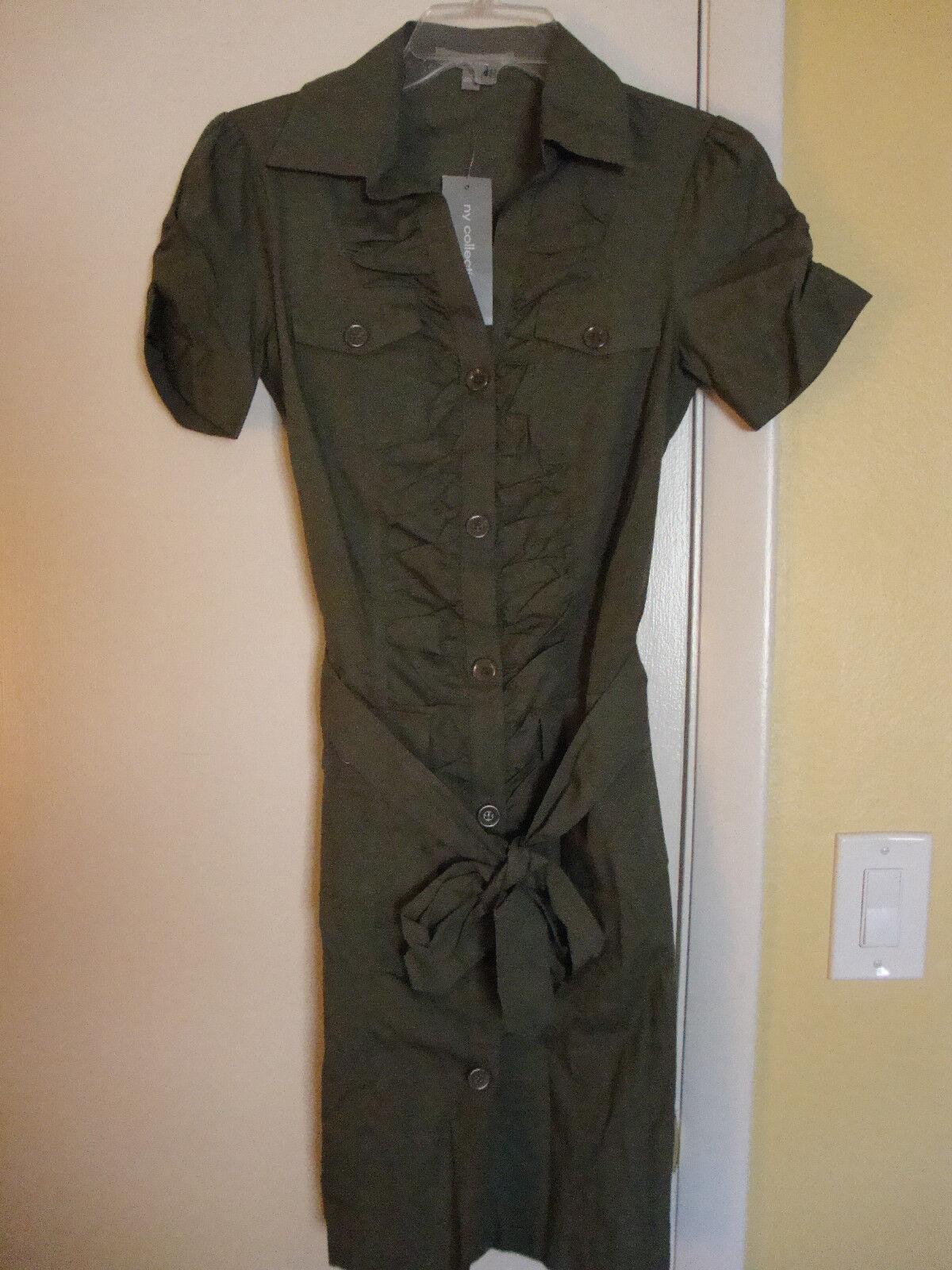 New Womens NY Collection Moss Green Sleeveless Dress Size Medium