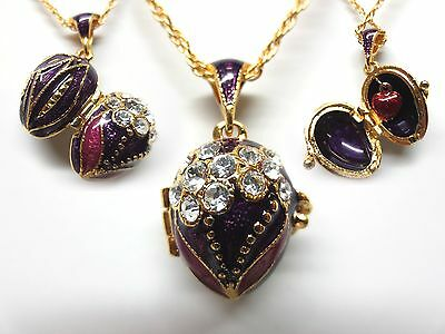 "Purple Lilly Easter Egg Pendant W/ 18"" Chain heart inside faberge inspired"