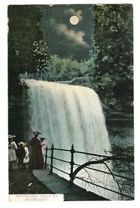 Minnehaha-Falls-by-Moonlight-Postcard-Posted-1908-Made-in-Germany-People-Trees