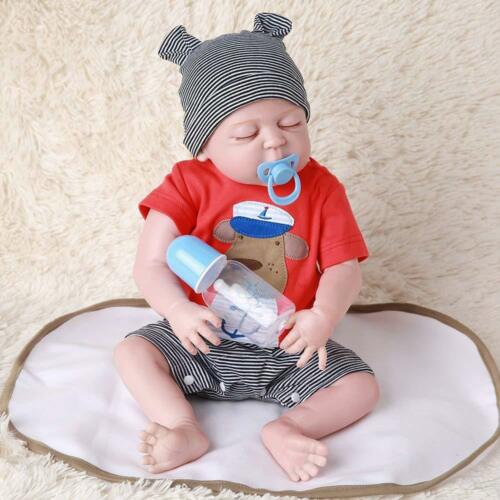 "Handmade Reborn Baby Toy Newborn Lifelike Silicone Vinyl Sleeping Boy Dolls 22/"""