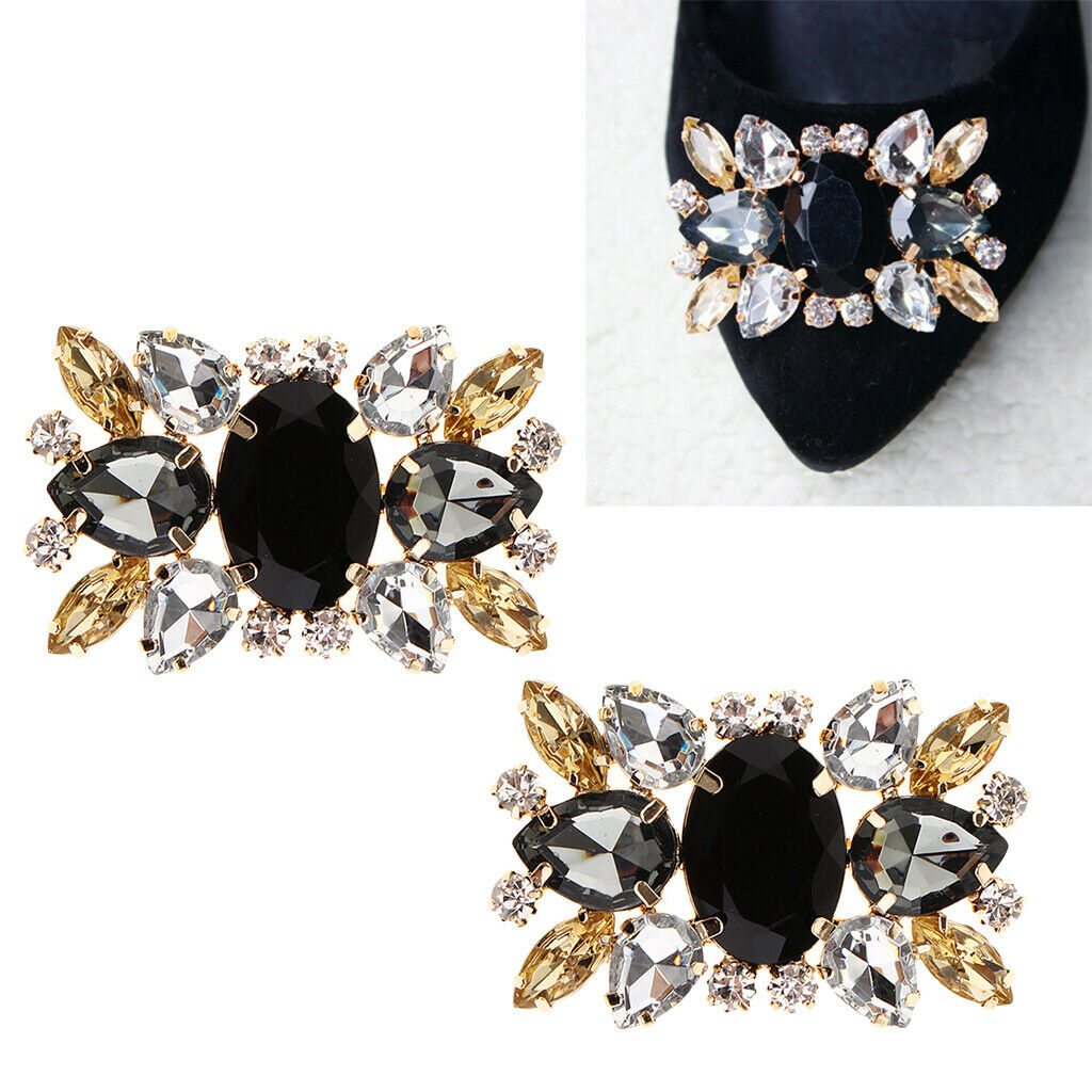 2 Pack Rhinestone Crystal Shoes Clips Shoe Buckle Women Fashion Shoe Accessories