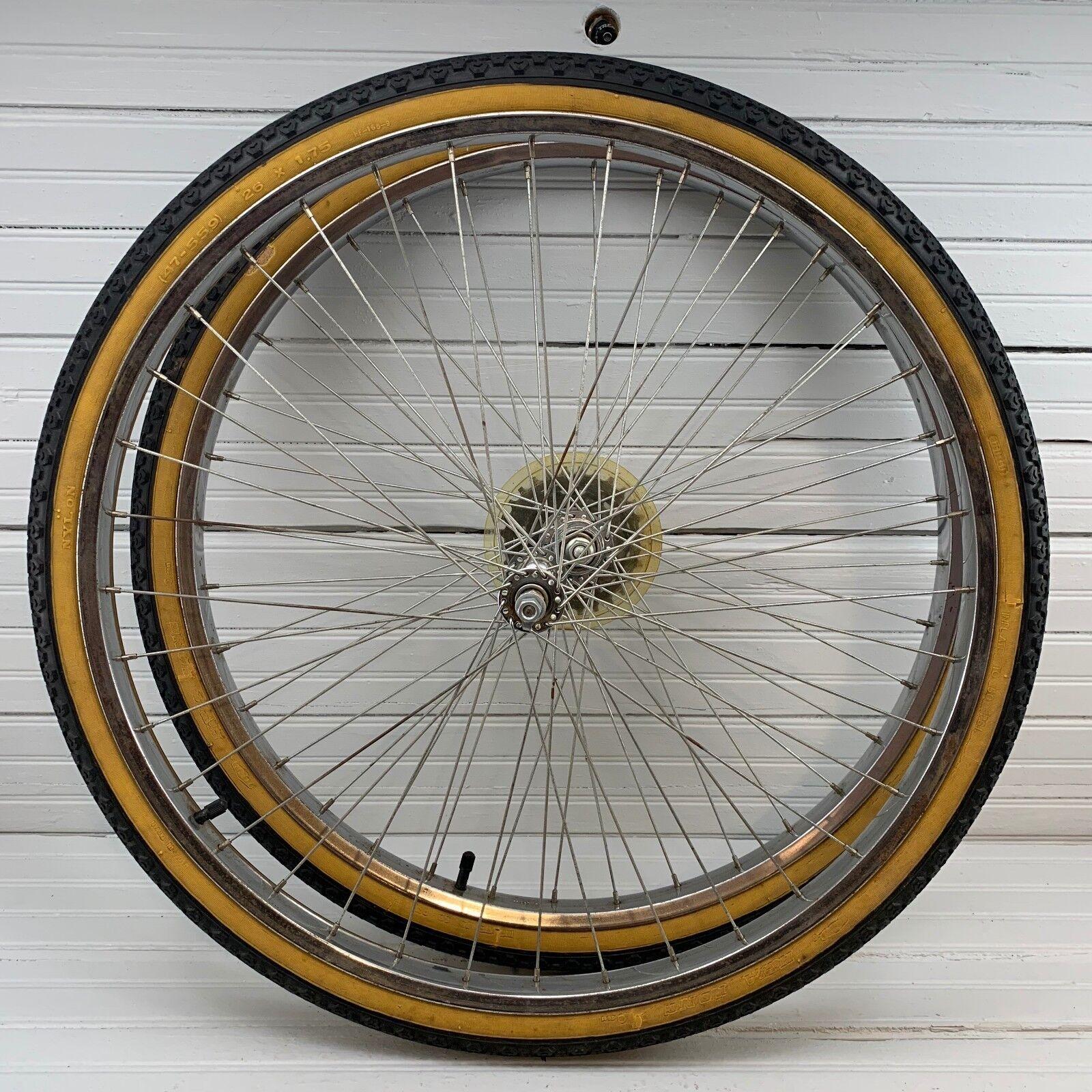 1980s 26  Beach Cruiser Wheel Set Chrome Five Speed HWA Fong 47-559 Tires BMX