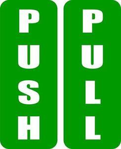 Details Over Set 2x Autocollant Sticker Porte Commerce Bureau Push Pull Poussez Tirez Panneau