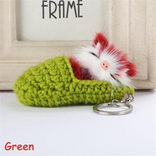 Jewelry Fluffy Bag Pendant Key Buckle Cat Key Ring Faux Rabbit Fur Keychain