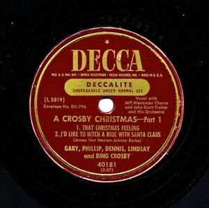 BING-CROSBY-and-Family-on-c-1950-Decca-40181-A-Crosby-Christmas