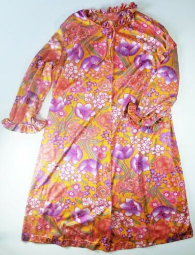 Vintage Vanity Fair Nylon Robe Floral One Pocket R