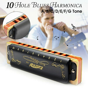 Blues Mundharmonika A-G Schlüssel Easttop T008K 10 Loch Tragbar Profi Jazz Folk