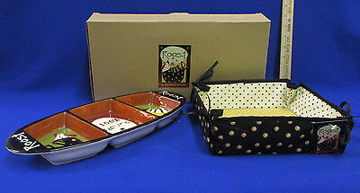 Divided Chicken Hen Rooster Williraye Studio Roost Serving Dish Tray & Basket
