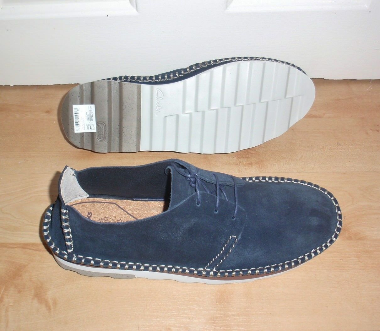 BNIB Clarks mens DAKIN WALK blue suede laced casual shoes